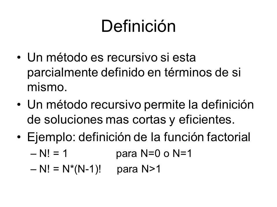 DefiniciónUn método es recursivo si esta parcialmente definido en términos de si mismo.