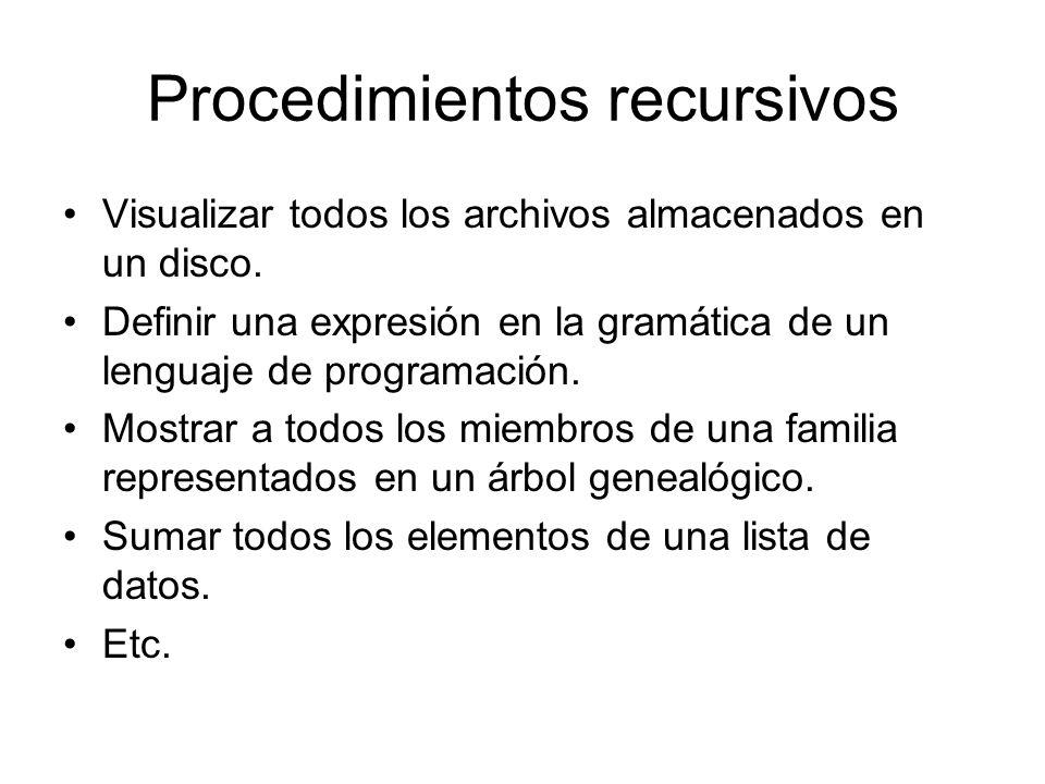 Procedimientos recursivos