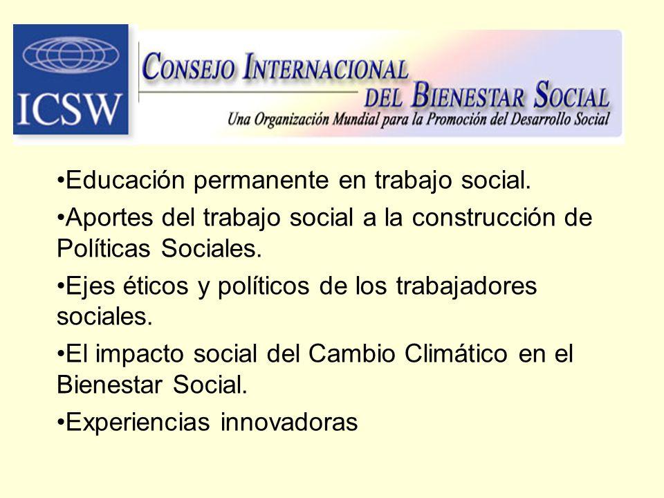 Educación permanente en trabajo social.