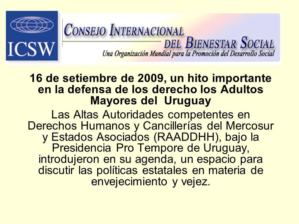 16 de setiembre de 2009, un hito importante en la defensa de los derecho los Adultos Mayores del Uruguay