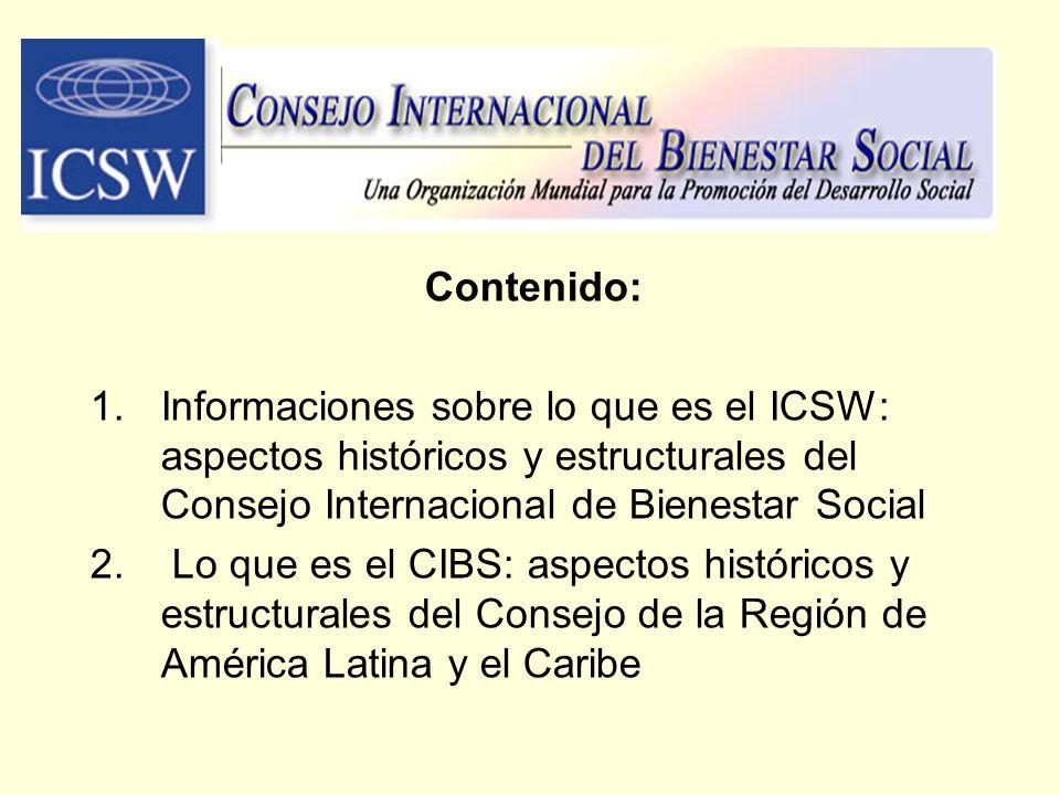 Contenido: Informaciones sobre lo que es el ICSW: aspectos históricos y estructurales del Consejo Internacional de Bienestar Social.