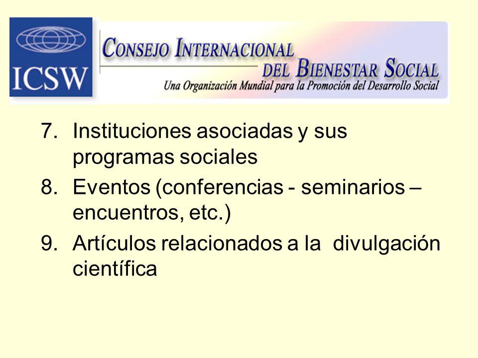 Instituciones asociadas y sus programas sociales