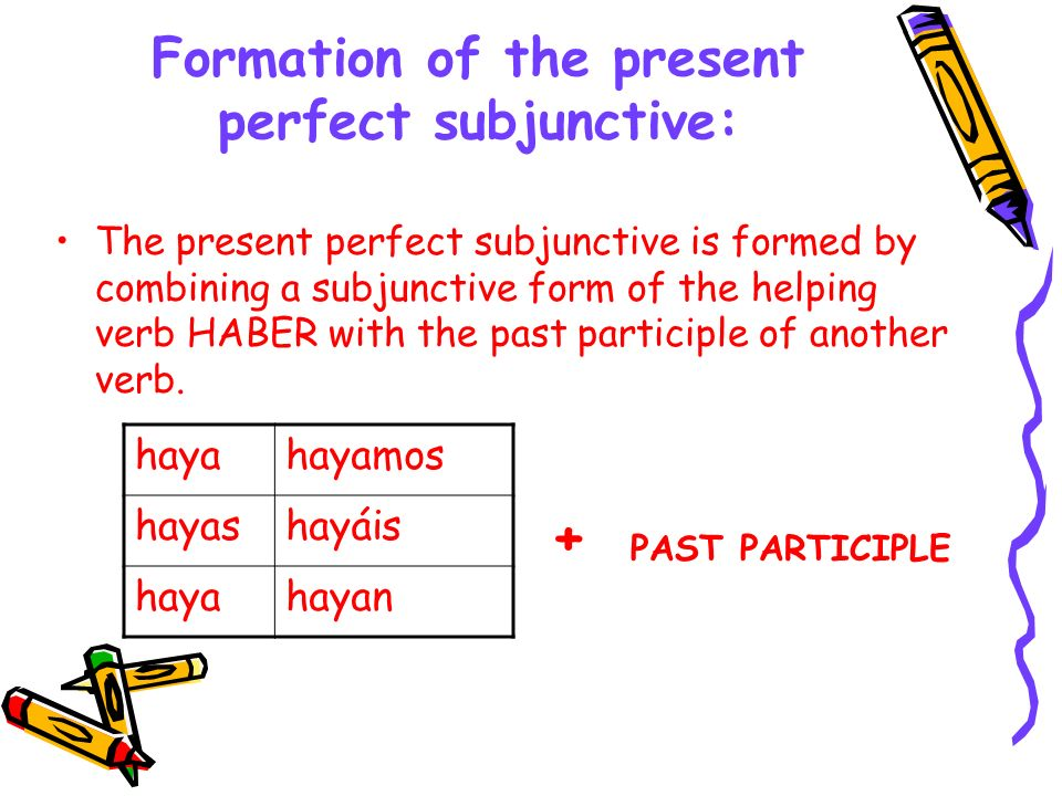 Formation of the present perfect subjunctive: