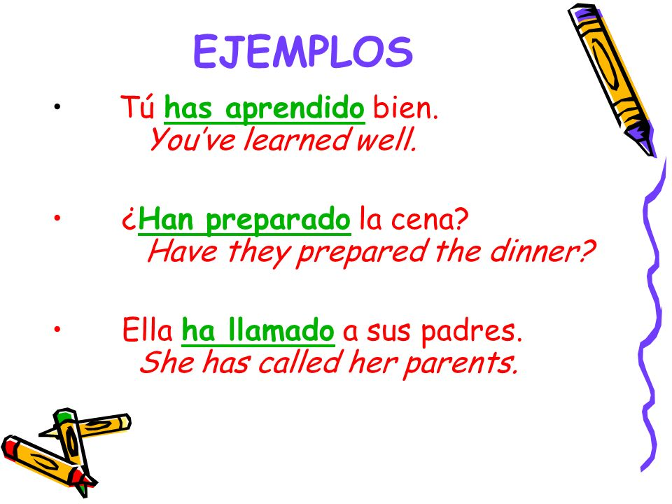 EJEMPLOS Tú has aprendido bien. You've learned well.