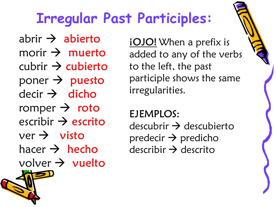 Irregular Past Participles: