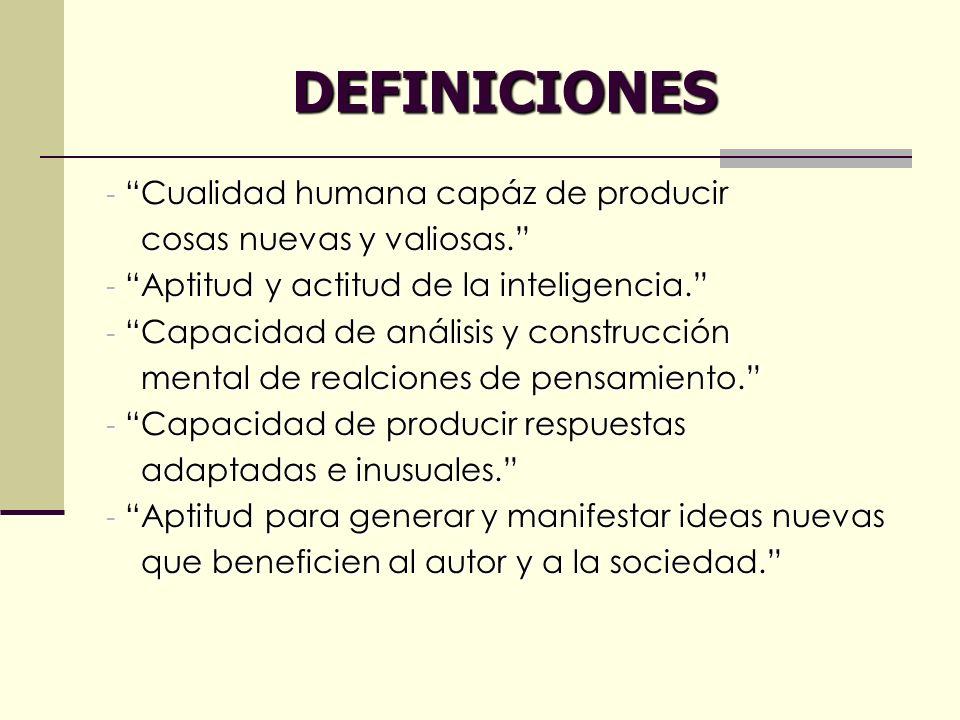 DEFINICIONES Cualidad humana capáz de producir