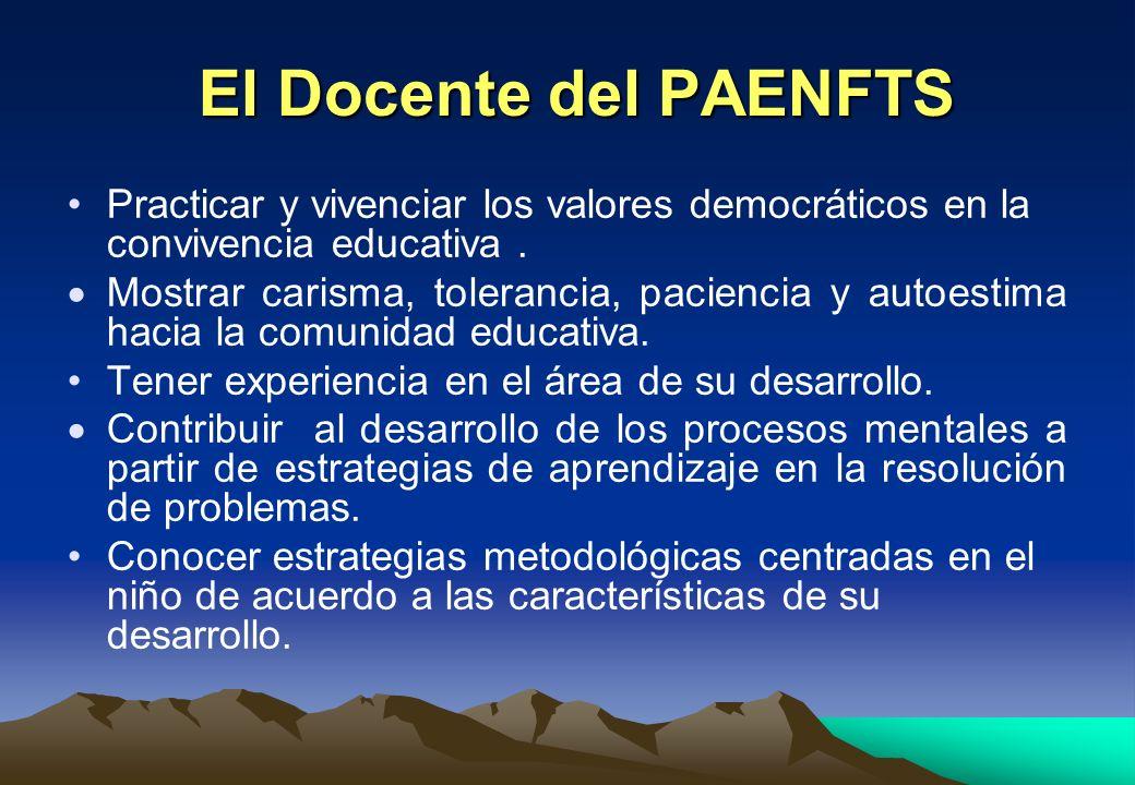 El Docente del PAENFTS Practicar y vivenciar los valores democráticos en la convivencia educativa .