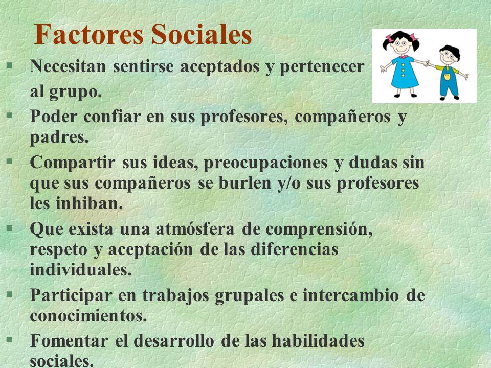 Factores Sociales Necesitan sentirse aceptados y pertenecer al grupo.
