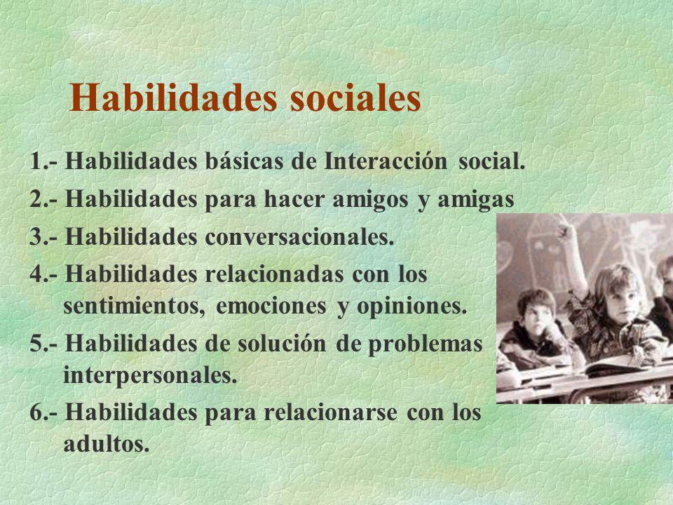 Habilidades sociales 1.- Habilidades básicas de Interacción social.