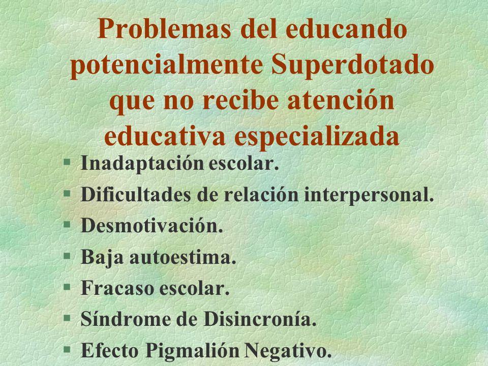 Problemas del educando potencialmente Superdotado que no recibe atención educativa especializada