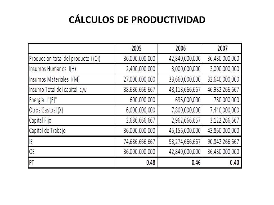 CÁLCULOS DE PRODUCTIVIDAD