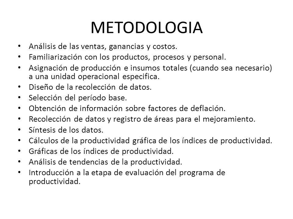 METODOLOGIA Análisis de las ventas, ganancias y costos.