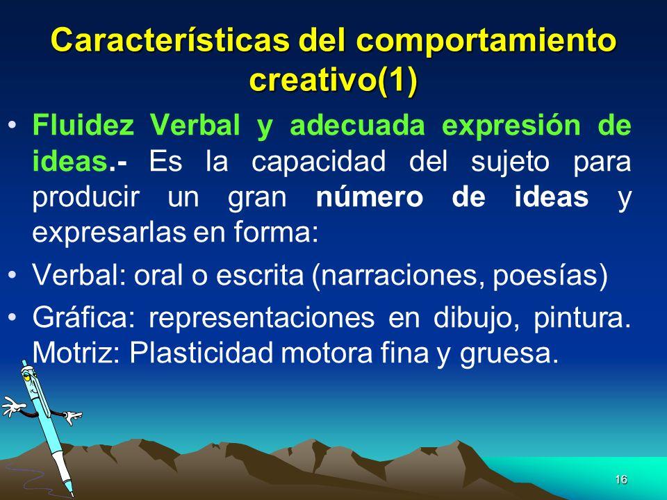 Características del comportamiento creativo(1)