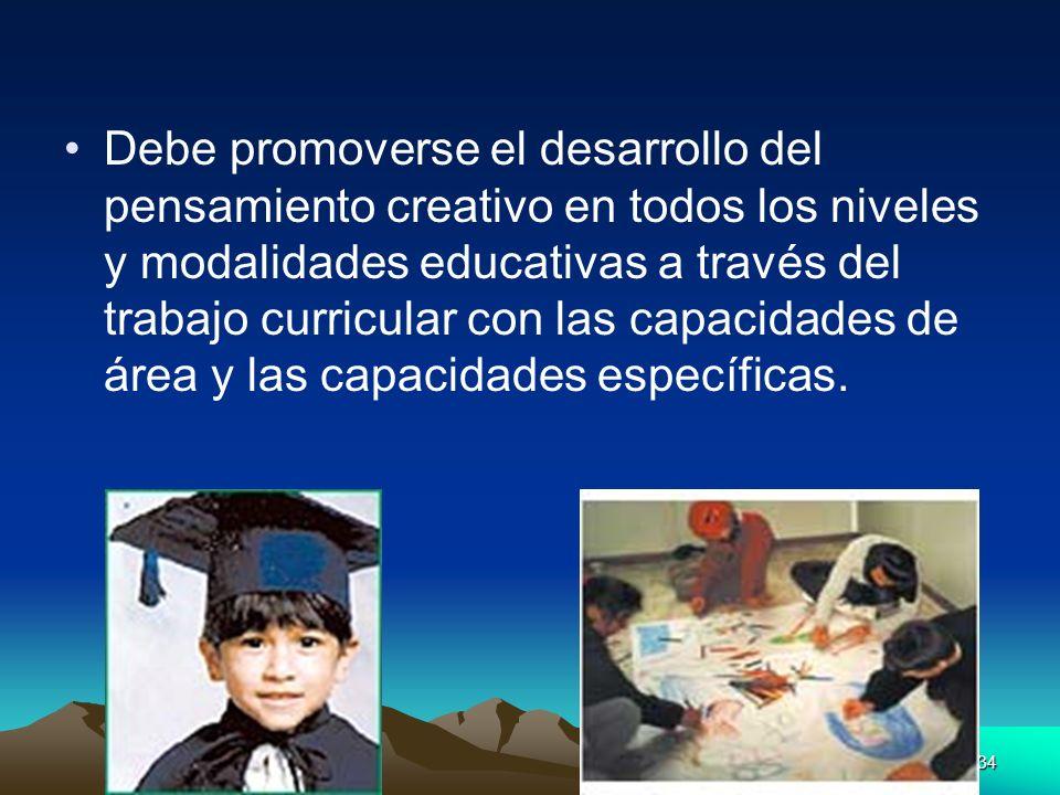 Debe promoverse el desarrollo del pensamiento creativo en todos los niveles y modalidades educativas a través del trabajo curricular con las capacidades de área y las capacidades específicas.
