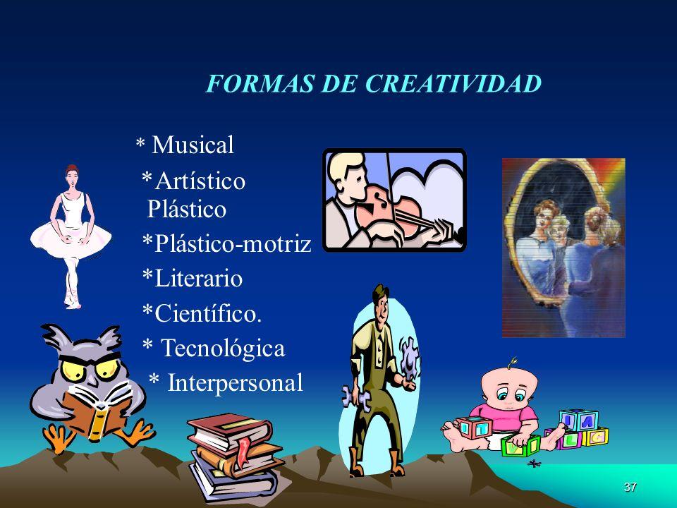 * Musical FORMAS DE CREATIVIDAD *Artístico Plástico *Plástico-motriz