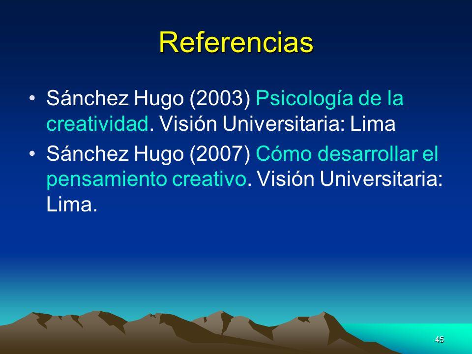 Referencias Sánchez Hugo (2003) Psicología de la creatividad. Visión Universitaria: Lima.