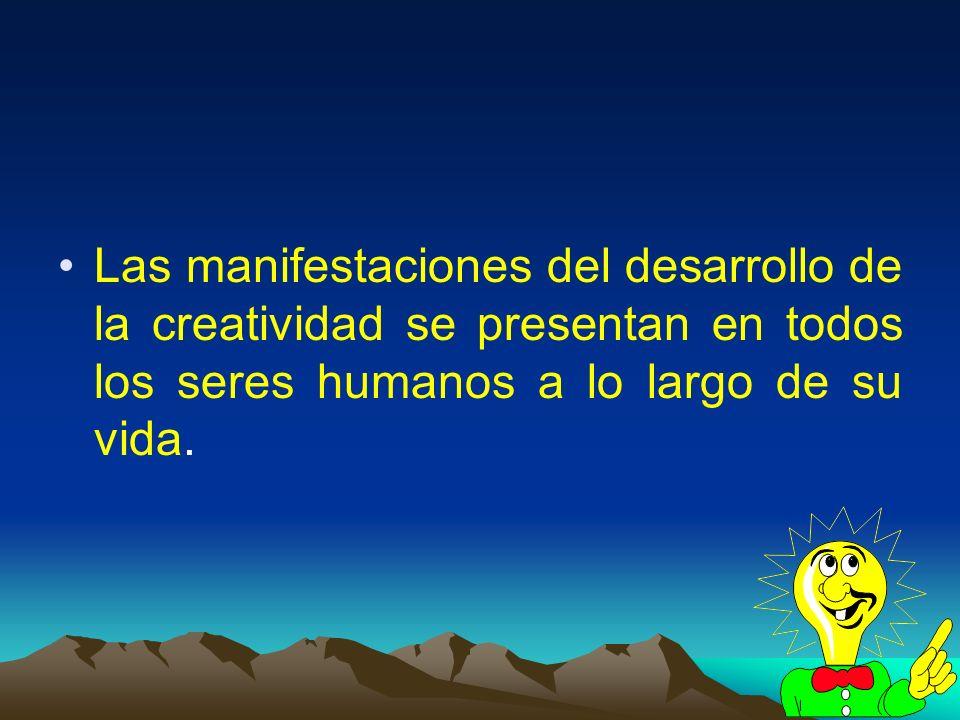 Las manifestaciones del desarrollo de la creatividad se presentan en todos los seres humanos a lo largo de su vida.