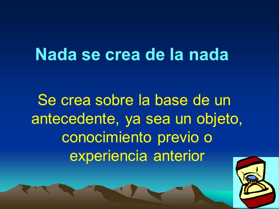 Nada se crea de la nadaSe crea sobre la base de un antecedente, ya sea un objeto, conocimiento previo o experiencia anterior.