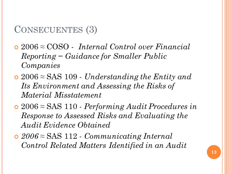 Consecuentes (3) 2006 ≈ COSO - Internal Control over Financial Reporting − Guidance for Smaller Public Companies.