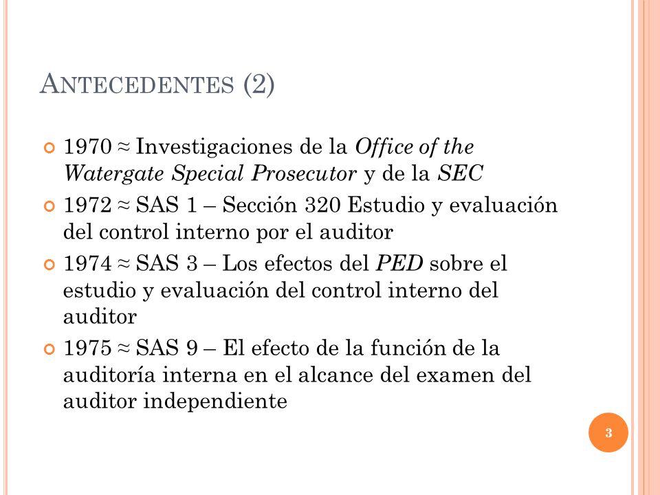 Antecedentes (2) 1970 ≈ Investigaciones de la Office of the Watergate Special Prosecutor y de la SEC.