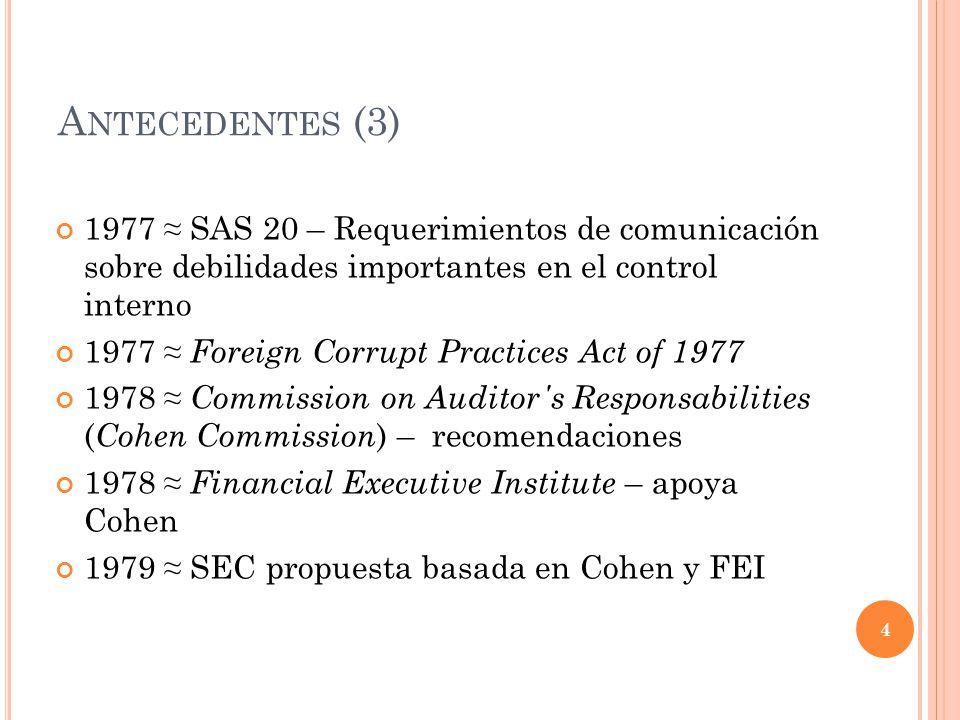 Antecedentes (3) 1977 ≈ SAS 20 – Requerimientos de comunicación sobre debilidades importantes en el control interno.