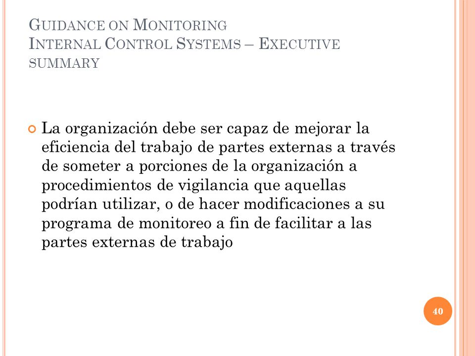Guidance on Monitoring Internal Control Systems – Executive summary