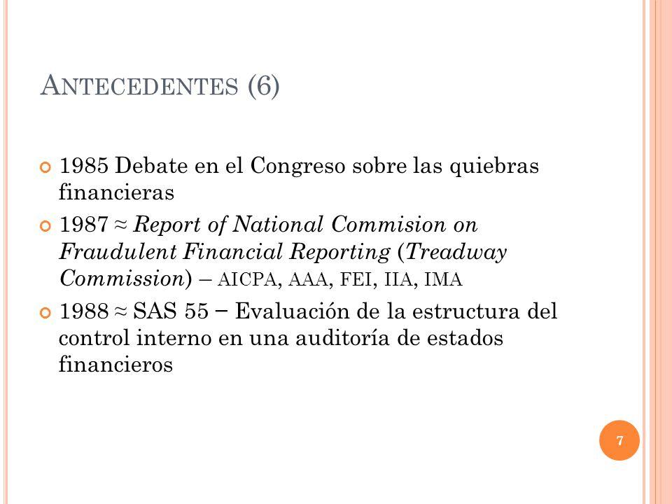 Antecedentes (6) 1985 Debate en el Congreso sobre las quiebras financieras.