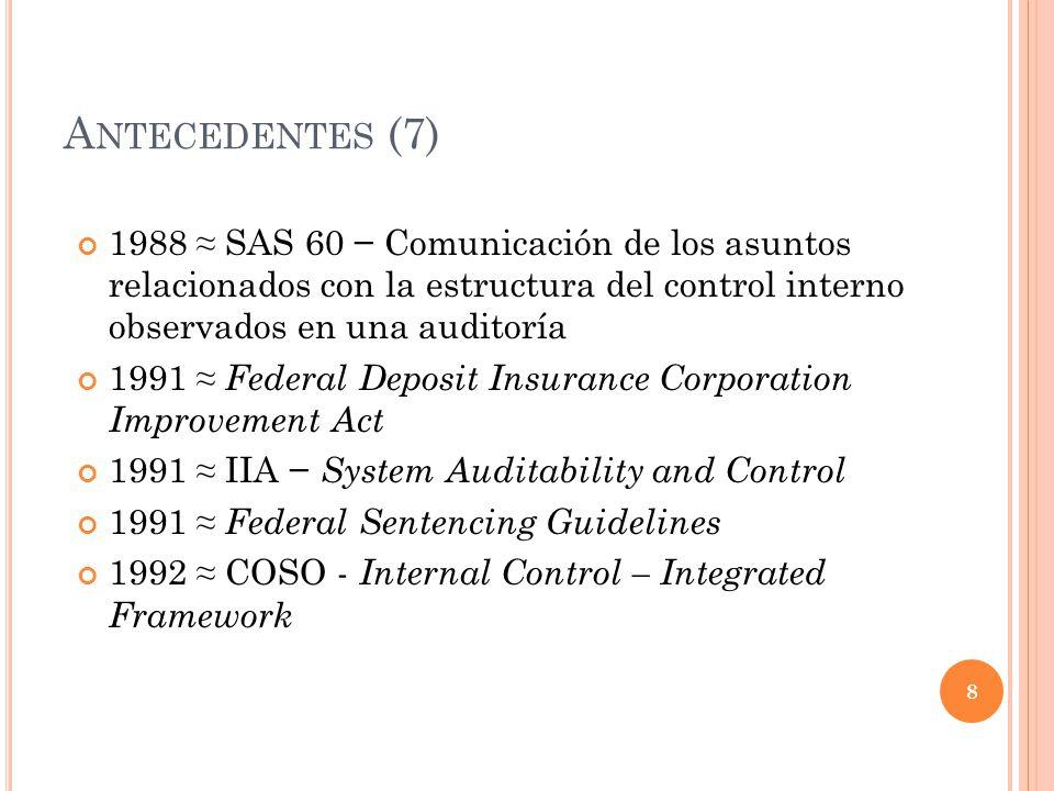 Antecedentes (7) 1988 ≈ SAS 60 − Comunicación de los asuntos relacionados con la estructura del control interno observados en una auditoría.