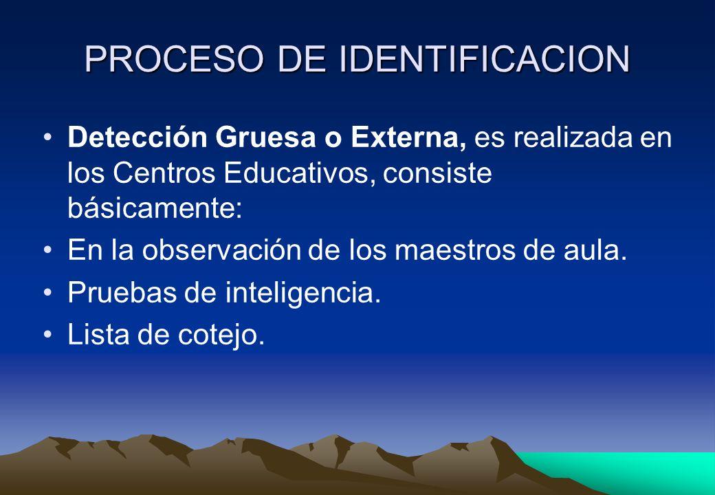 PROCESO DE IDENTIFICACION