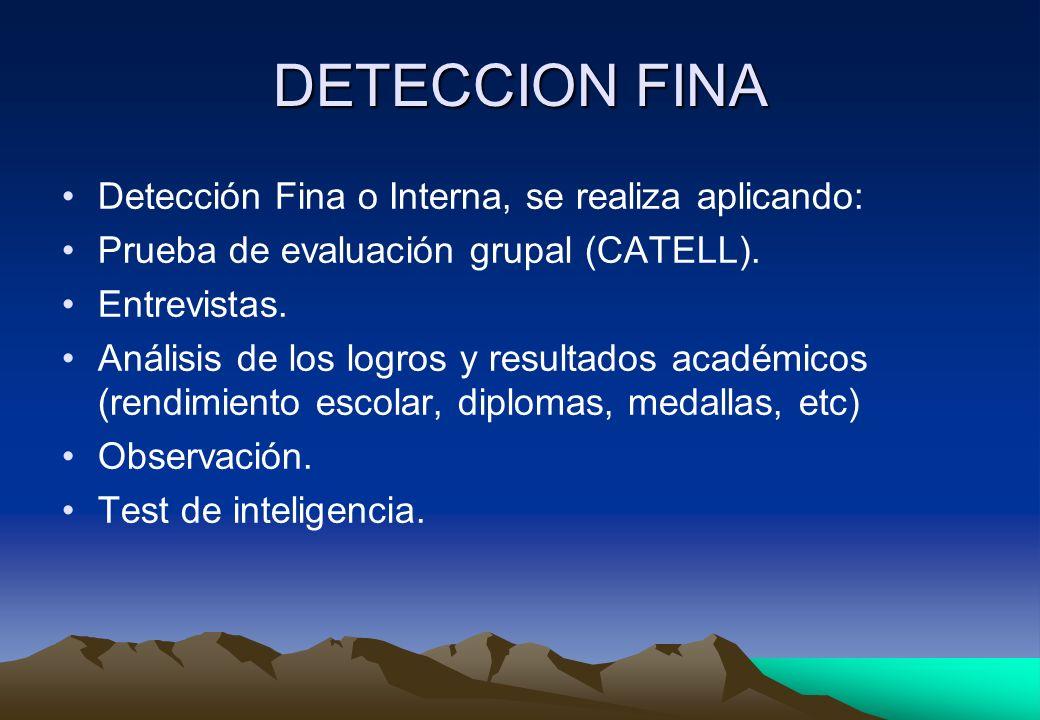 DETECCION FINA Detección Fina o Interna, se realiza aplicando: