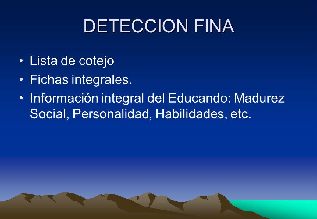 DETECCION FINA Lista de cotejo Fichas integrales.