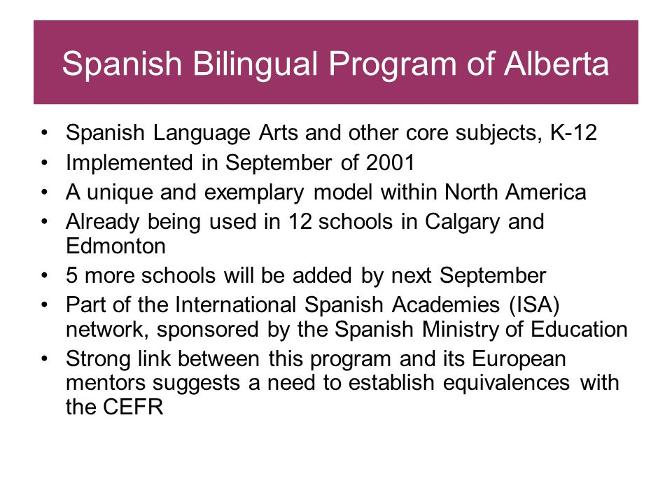 Spanish Bilingual Program of Alberta