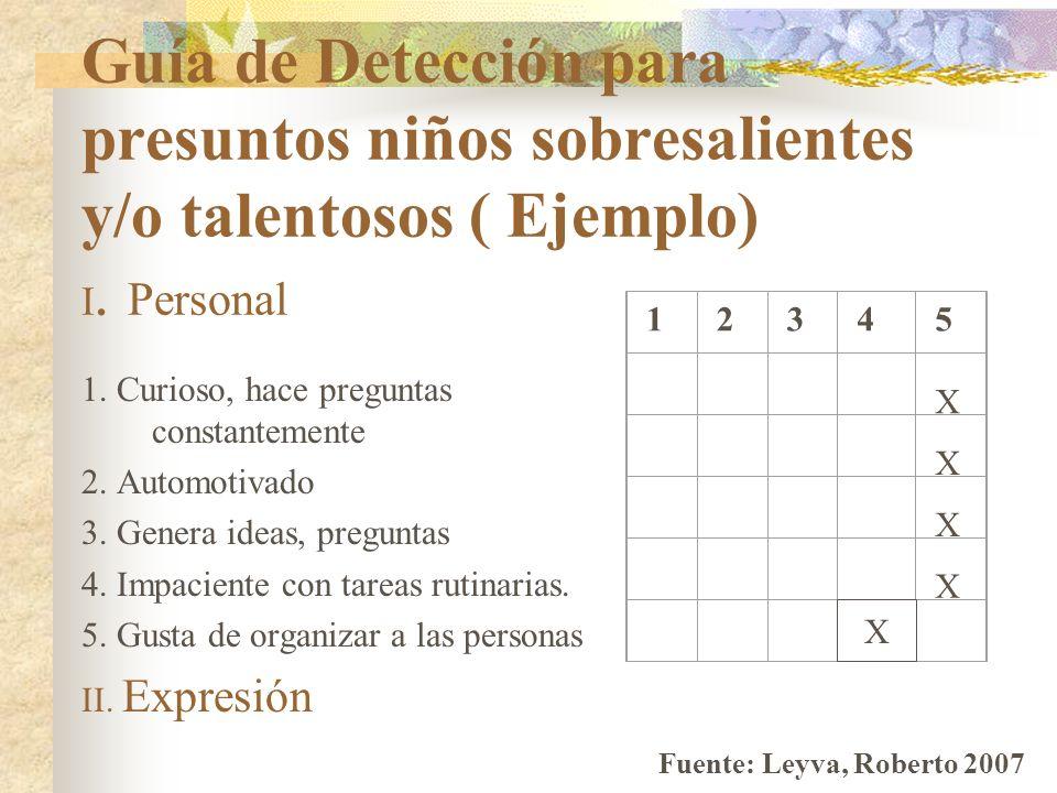 Guía de Detección para presuntos niños sobresalientes y/o talentosos ( Ejemplo) I. Personal