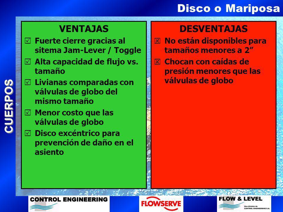 Disco o Mariposa VENTAJAS DESVENTAJAS