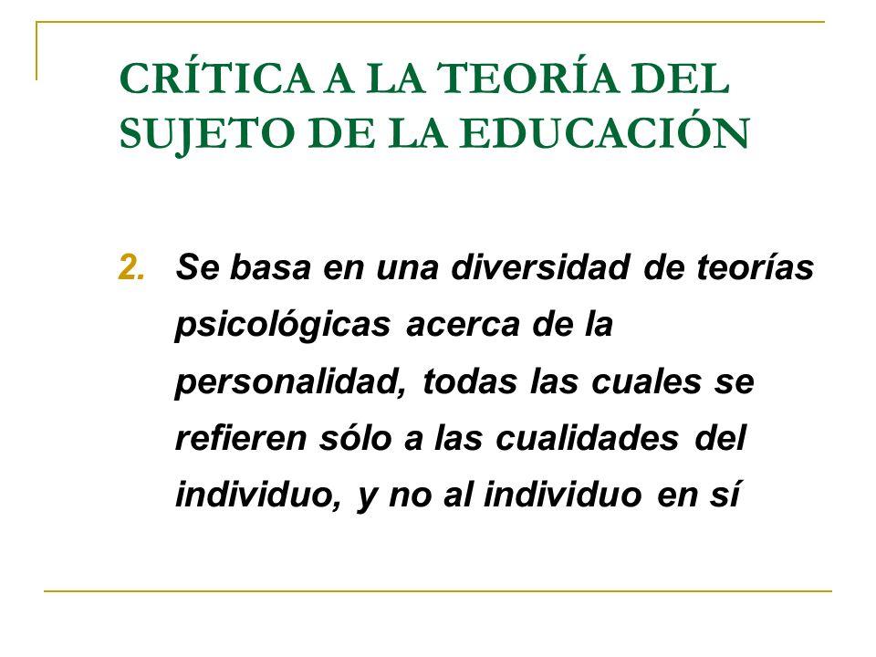 CRÍTICA A LA TEORÍA DEL SUJETO DE LA EDUCACIÓN