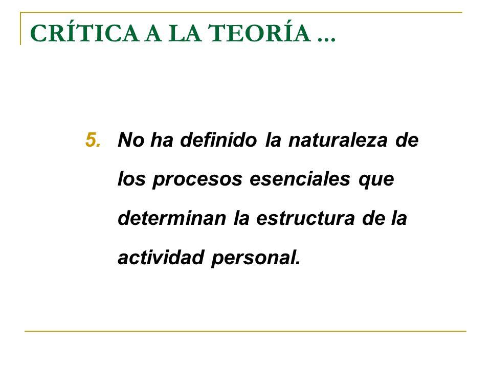 CRÍTICA A LA TEORÍA ...No ha definido la naturaleza de los procesos esenciales que determinan la estructura de la actividad personal.