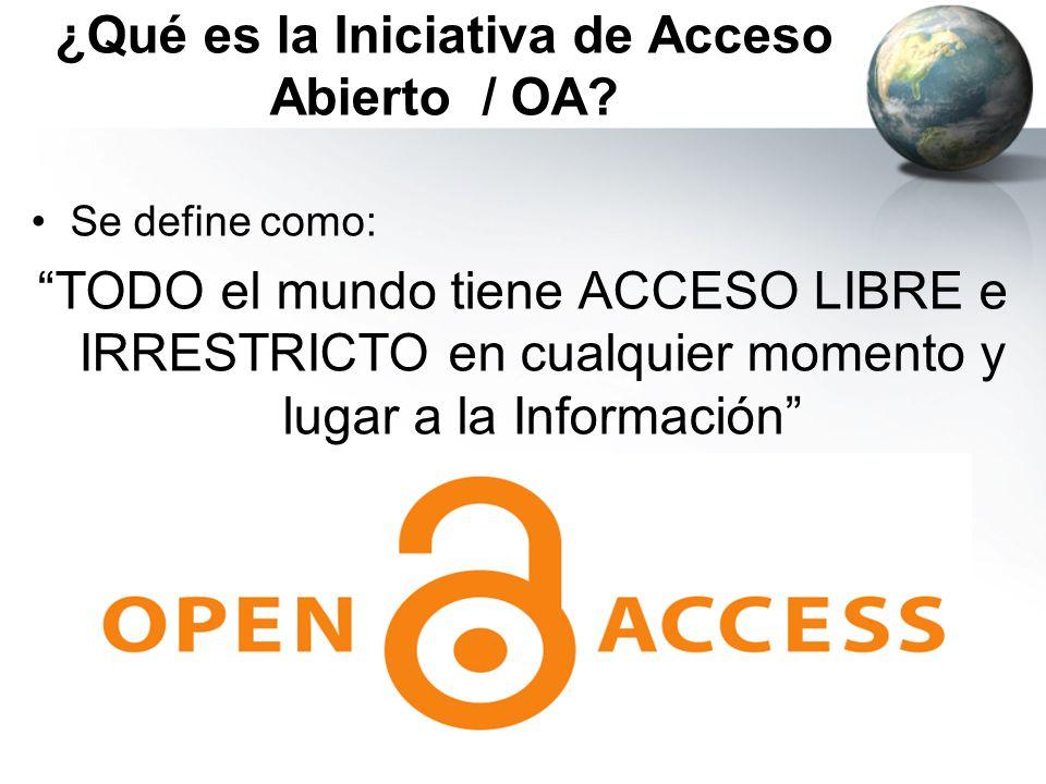 ¿Qué es la Iniciativa de Acceso Abierto / OA