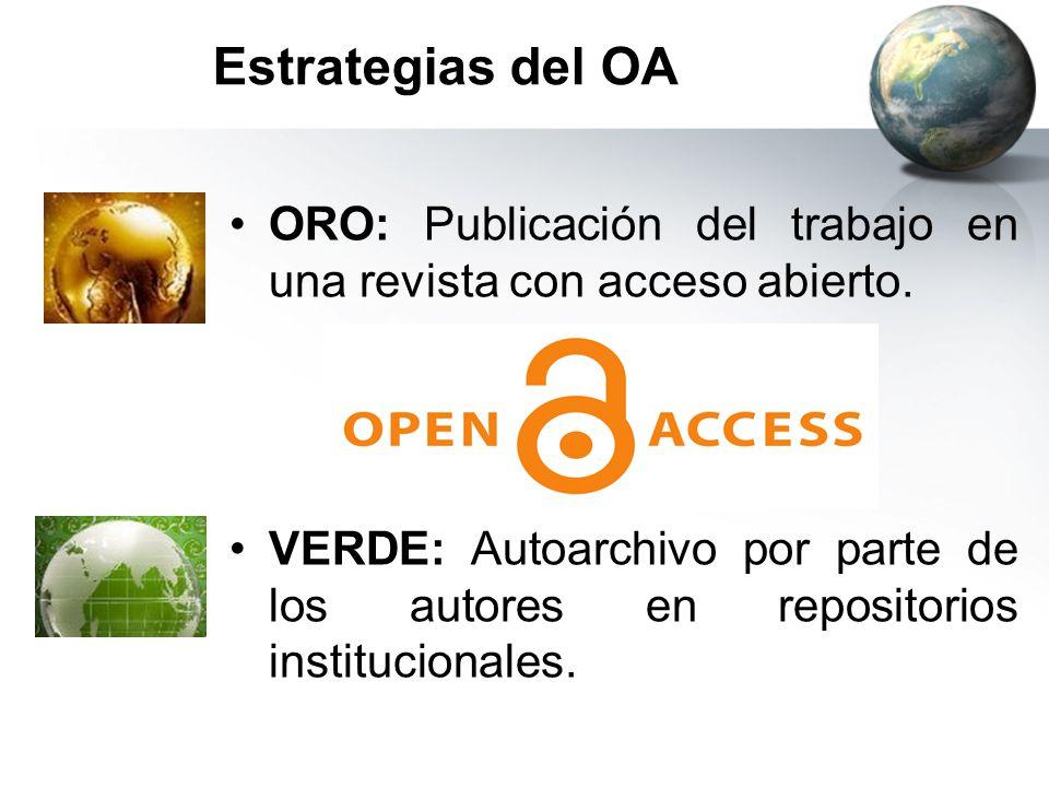 Estrategias del OA ORO: Publicación del trabajo en una revista con acceso abierto.