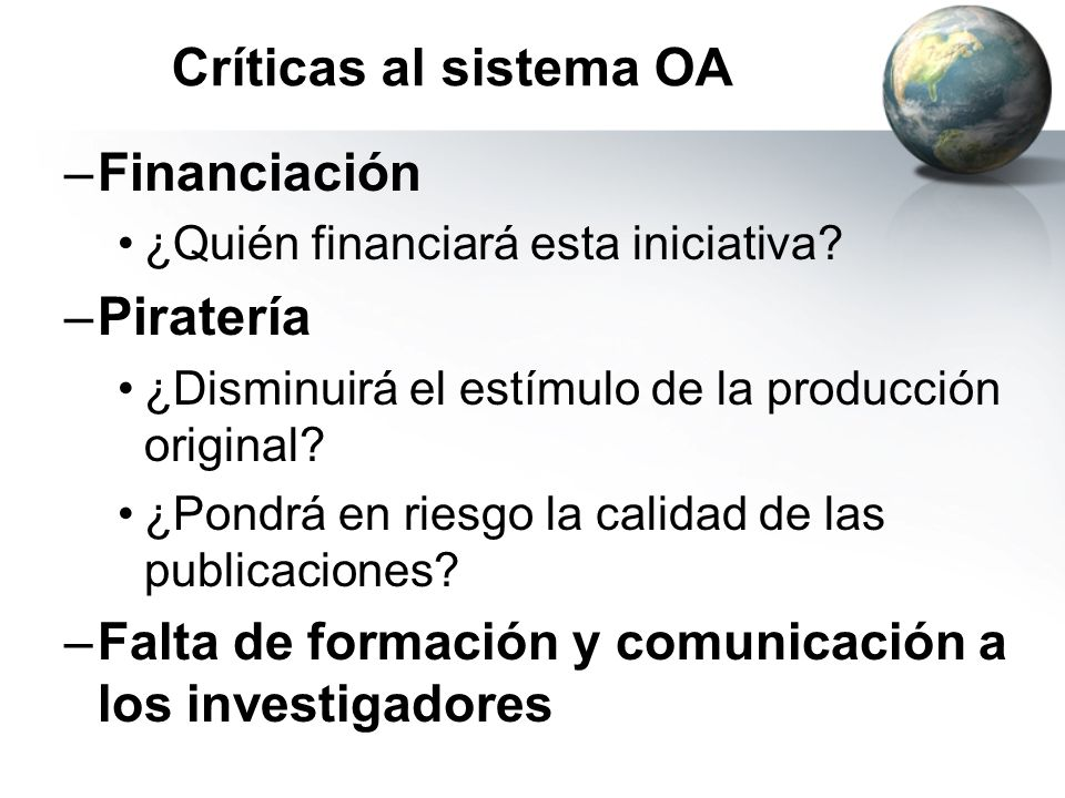 Críticas al sistema OA Financiación Piratería