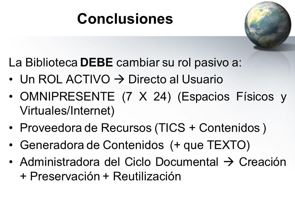 Conclusiones La Biblioteca DEBE cambiar su rol pasivo a: