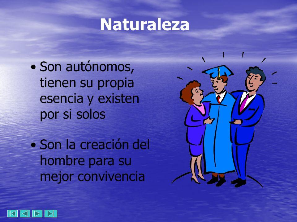 Naturaleza Son autónomos, tienen su propia esencia y existen por si solos.