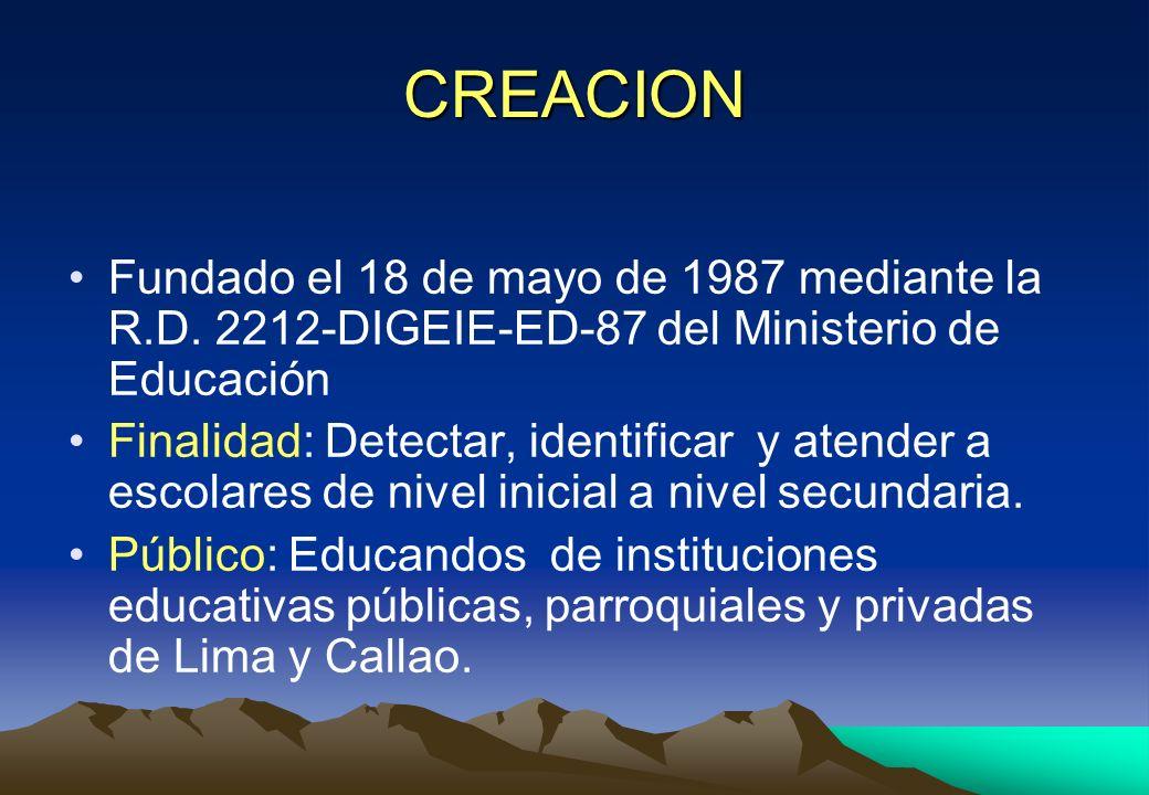 CREACION Fundado el 18 de mayo de 1987 mediante la R.D. 2212-DIGEIE-ED-87 del Ministerio de Educación.