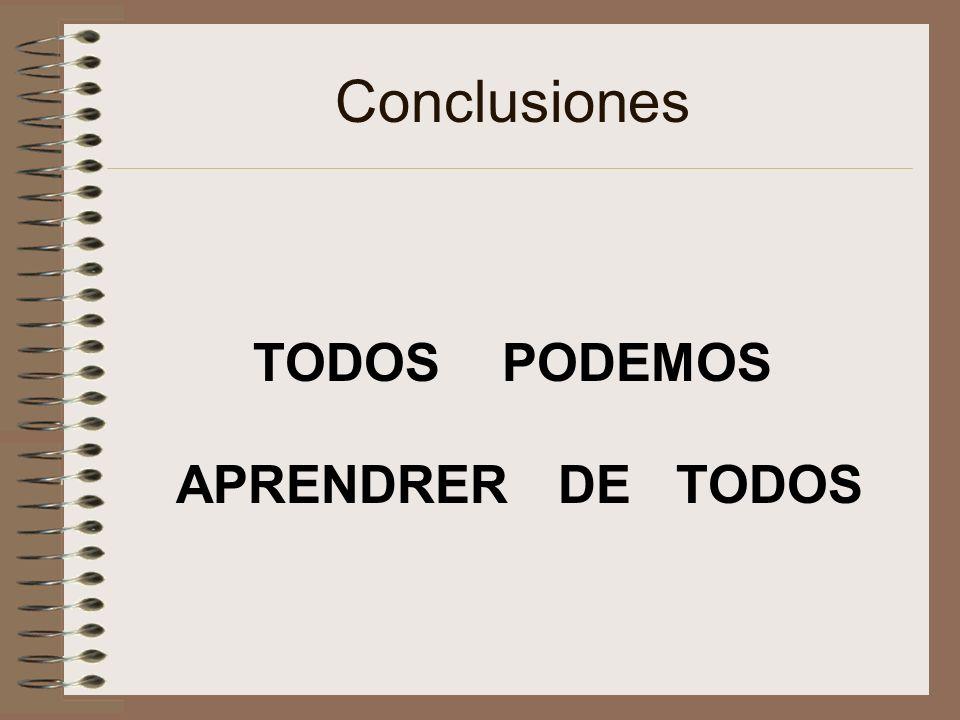 Conclusiones TODOS PODEMOS APRENDRER DE TODOS