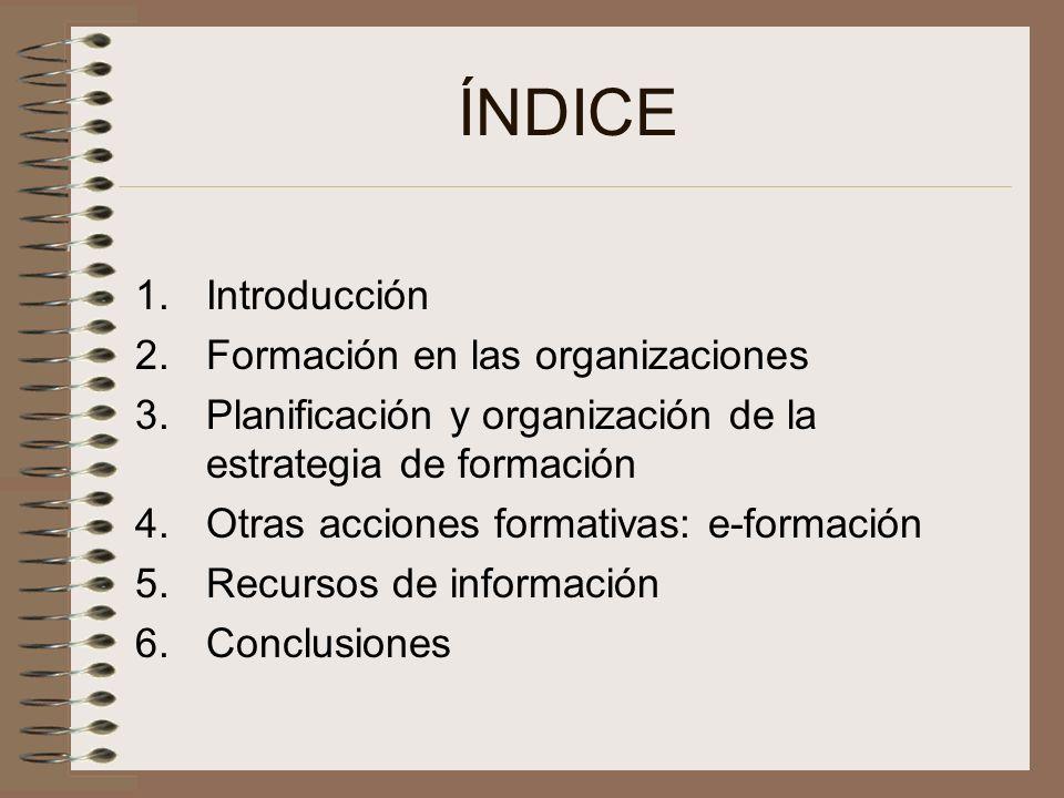 ÍNDICE Introducción Formación en las organizaciones