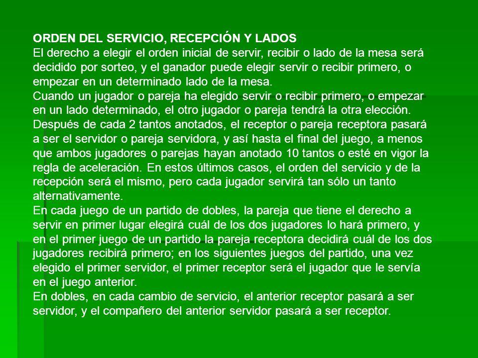 ORDEN DEL SERVICIO, RECEPCIÓN Y LADOS