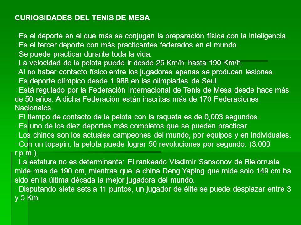 CURIOSIDADES DEL TENIS DE MESA