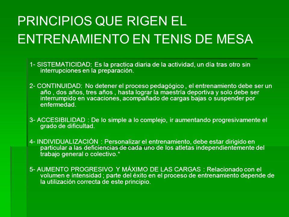 PRINCIPIOS QUE RIGEN EL ENTRENAMIENTO EN TENIS DE MESA