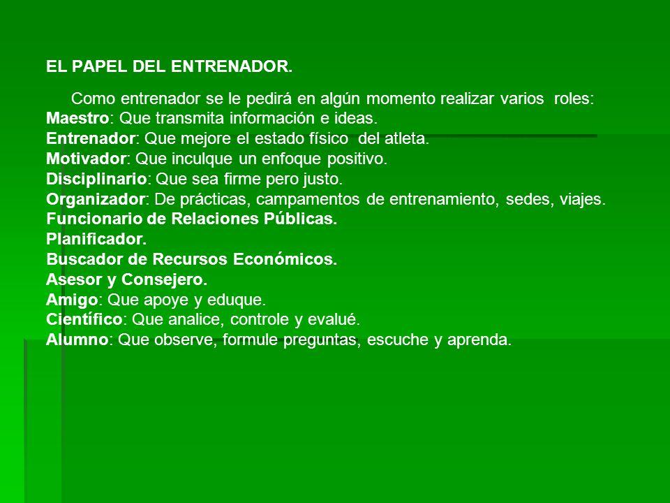 EL PAPEL DEL ENTRENADOR
