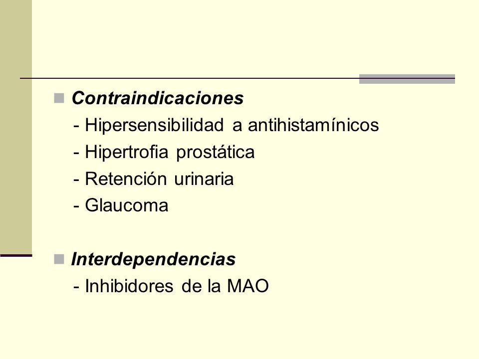 Contraindicaciones - Hipersensibilidad a antihistamínicos. - Hipertrofia prostática. - Retención urinaria.