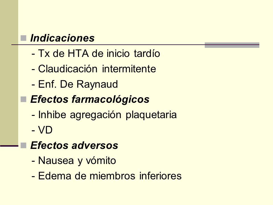 Indicaciones - Tx de HTA de inicio tardío. - Claudicación intermitente. - Enf. De Raynaud. Efectos farmacológicos.